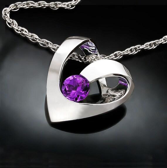 amethyst necklace, heart necklace, amethyst pendant, February birthstone, valentine necklace, argentium silver, purple gemstone - 3401