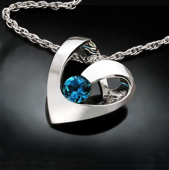 heart necklace, blue topaz pendant, London blue topaz, valentine necklace, December birthstone, contemporary jewelry - 3401