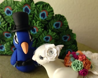 Peacock Love Keepsake Wedding Cake Topper handmade