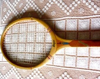 """Vintage Slazenger SUPER Wood Tennis  4 1/2"""" L Racquet Leather Grip Gut Excellent"""