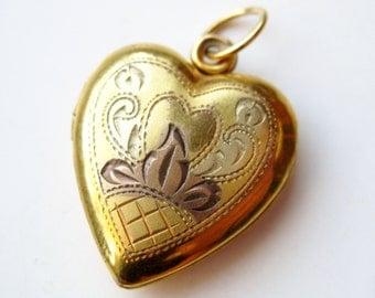 Vintage 10k Gold Filled Sterling Silver Vargas Sweetheart Heart Shaped Locket Necklace Pendant