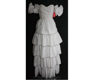 XXS 1990s White Prom Gown with Separate Sleeve Poufs - Size 000 90s Strapless Evening Wear - Fad 90's Formal Dress - Bust 30 - 34868