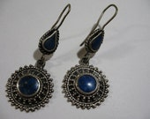 Vintage Silver Tone Earrings with Lapis Lazuli Inlay, Pierced