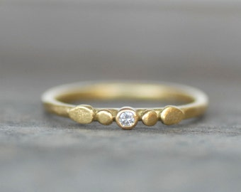 Tiny Petals Diamond Gold Ring - 2mm Diamond Ring - 18k OR 14k Gold Wedding Ring - Eco-Friendly Recycled Gold - White OR Brown Diamond