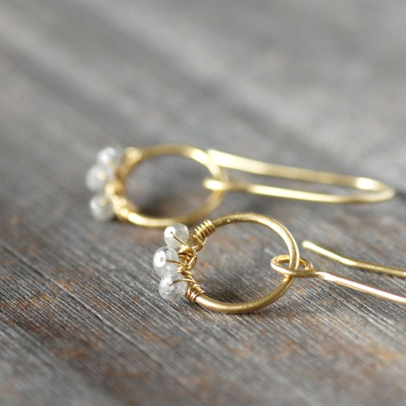 Natural Diamond Gold Earrings - Diamond Gold Hoop Dangles - Eco-Friendly Recycled Gold