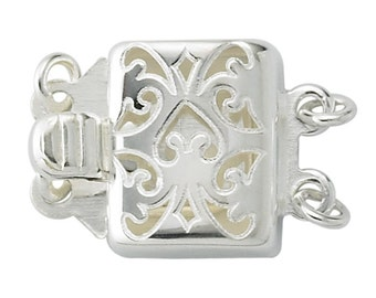 Sterling Silver Square Safety Clasp 2 Strands