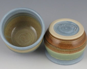 Handmade Pottery Prep Bowls  Set of 2 / Small Ceramic Sauce or Spice Bowls / Wheel Thrown Dipping Bowls  / Mini Bowls 5 oz.