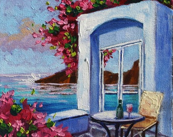 Original oil painting, Relaxing in Greece, Santorini Flowers, Original Landscape Art on Canvas, wall Art, by Rebecca Beal