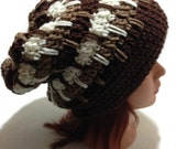 Crochet Geometric Slouch Beanie Hat in Ombre Brown Tan Beige