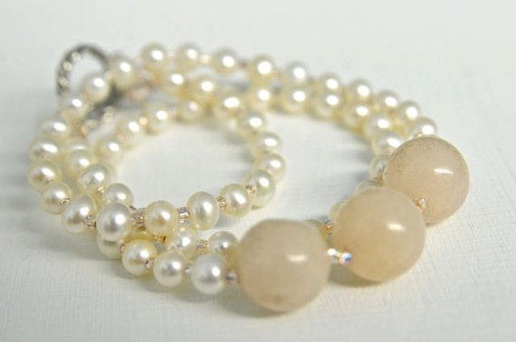 Peach Quartz Necklace with Off White Pearls and Peachy Pink Glass Seed Beads Handmade in Maine from North Atlantic Art Studio