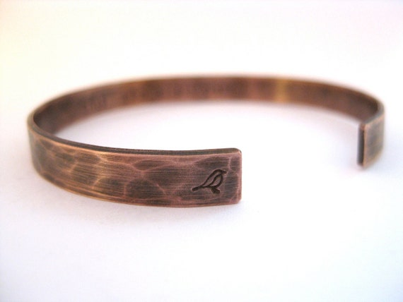 Antiqued Rustic Copper Bracelet Custom Personalized Thin Cuff Hand Stamped Bracelet this too shall pass