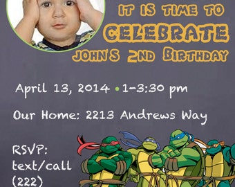 diy print invitation, teenage mutant ninja turtle birthday invite, TMNT birthday party, Ninja Turtles birthday party invitation