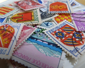 SALE 24 PARIS Vintage STAMPS collection - Cute used assorted set - French ephemera and paper supplies