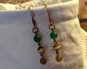 Green, Cream and Brown Boho Chic Dangle Earrings