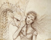 Signed Dragon Drawing Fantasy Art Print 8x10 The Girl and The Dragon Sepia