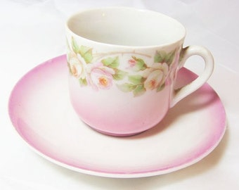 Pink Cup and Saucer with Pink Roses - Made in Germany