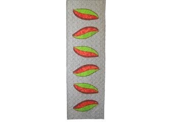 """Table Runner Side by Side - 16"""" x 54"""" - quilt - leaves - black white orange green brown - patchwork - textile art"""
