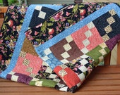 Handmade Traditional Floral Patchwork Lap, Sofa or Throw Quilt Blanket