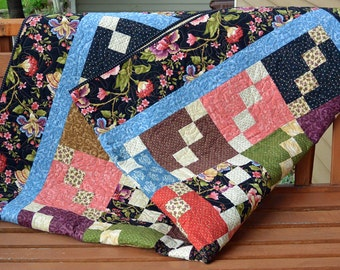 Throw Quilt-Traditional-Patchwork-Handmade-Floral