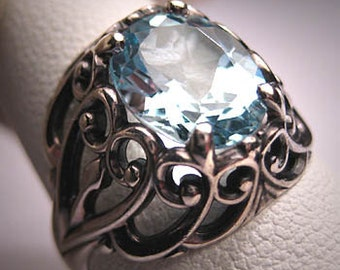 Vintage Aquamarine Blue Topaz Ring Victorian Filigree