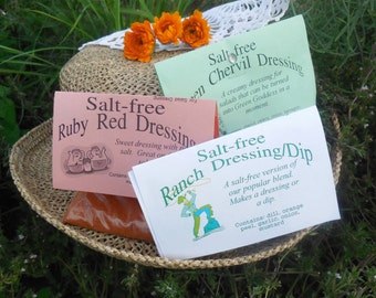 Set of 5 Salt-Free Salad Dressing Mixes, Hand-blended no salt dry HERB COOKING MIX, lemon herbs, gluten free