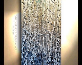 LARGE Original Hand painted Painting Mega Greige Brown Black White Gold Blue Birch Aspen Artwork Fine art canvas by OTO
