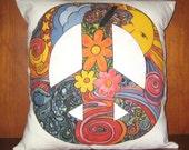 Peace Sign Linen Throw Pillow Cover 14X14