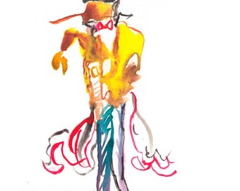 Original Abstract Watercolor Figure Painting, Surreal Fashion Illustration - 99