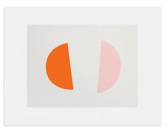 Mid Century modern art, abstract screenprint, handmade, orange and pink, simple, modern and a little bit retro by Emma Lawrenson