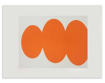 Orange silkscreen print, minimalist modern art. Original Screenprint by Emma Lawrenson.