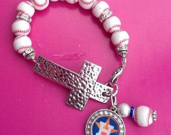 Houston Astros Cross Bracelet