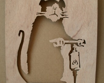 Banksy Road Driller Rat  Wooden Stencil