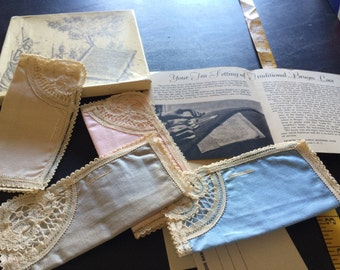 Set of 4 vintage handkerchiefs hankies Boxed Gray Blue Pink and Ivory with Antique Lace Design