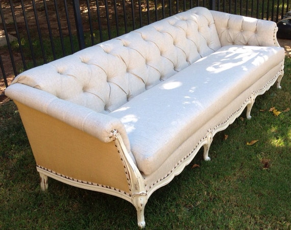 Vintage Sofa French Provincial Wood Frame Custom Tufted