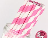 Stripe Pink Party Paper Straws - Cake Pop Sticks - Pixie Sticks - Qty 25