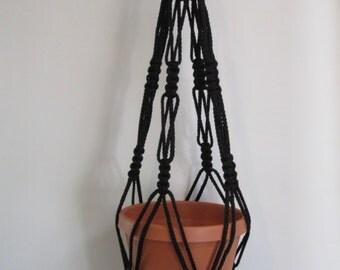 Macrame Plant Hanger Vintage Style 4mm, 30 inch - BLACK