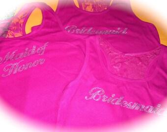 Hot pink half lace tank tops. Bridesmaid half lace tank tops. Maid of honor matron of honor, bride to be, small, medium, large XL, XXL tanks