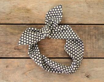 charcoal and white polka dot headscarf, retro tie up headband adjustable, summer fall fashion, knotted headband, under 15, stocking stuffer