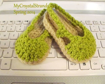 NEW - Crochet Slingback Baby Espadrille Sandals in Lime Green Cotton