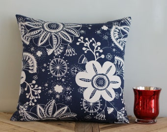 Outdoor Navy Blue Caymans Blossom Vine Throw Pillow Cover - 14 inch