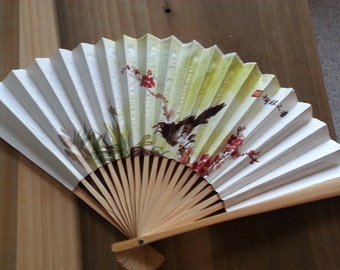 Vintage Paper And Bamboo Fan Black Bird and Red Blossoms Asian Characters 1960s