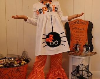 Personalized Spider Halloween Dress / Infant Toddler Youth Girl / Personalized Halloween Dress / Spider Applique /Fuzzy Spider Dress