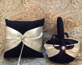ivory or white on black color satin flower girl basket and ring bearer pllow