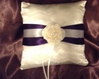 White or ivory custom made ring pillow lace with purple