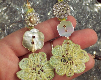 Vintage Buttons and lace earrings -  rhinestone,  mother of pearl button  with hand dyed bridal lace - Holiday Lights by PyxeeStyx