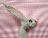 Hare / Rabbit brooch on greetings card handmade ooak cranachan badge