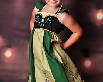 Frozen Anna Dress,  Anna's Coronation Day Dress inspired by Disney's Princess Anna, sizes 2T-8girls