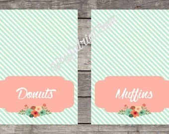 Custom Printable Food Signs Foldable Food Tent Cards Vintage Flower Party