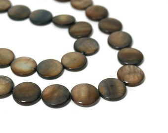 Mother of Pearl beads, charcoal brown 14mm flat round coin, full bead strand (815LH)