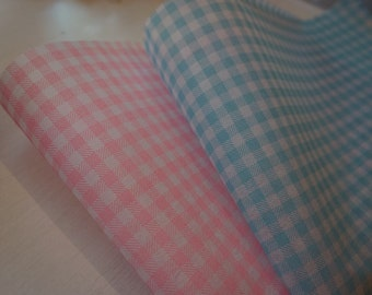 5 x Non-Woven Sheets: Baby Blue or Pink Gingham ~ Baby Shower ~ *Wrap *Bouquets *Hampers